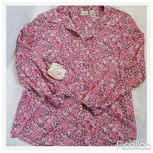 LLBean Floral Cotton Button Down